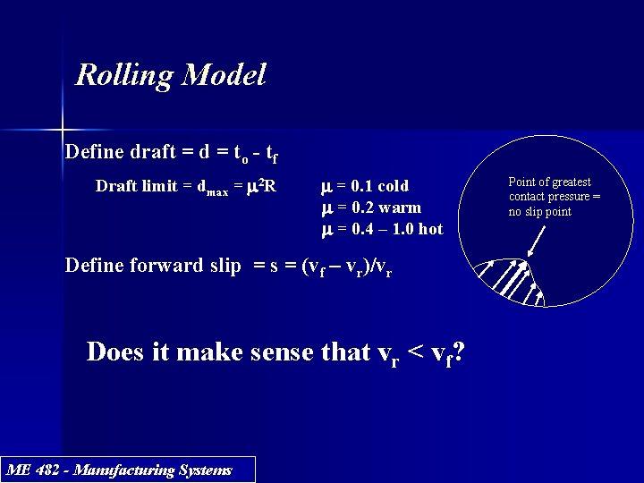 Rolling Model Define draft = d = to - tf Draft limit = dmax