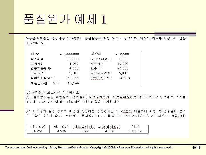 품질원가 예제 1 To accompany Cost Accounting 12 e, by Horngren/Datar/Foster. Copyright © 2006