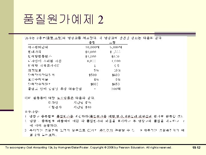 품질원가예제 2 To accompany Cost Accounting 12 e, by Horngren/Datar/Foster. Copyright © 2006 by