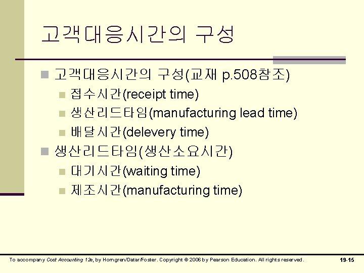 고객대응시간의 구성 n 고객대응시간의 구성(교재 p. 508참조) n 접수시간(receipt time) n 생산리드타임(manufacturing lead time)