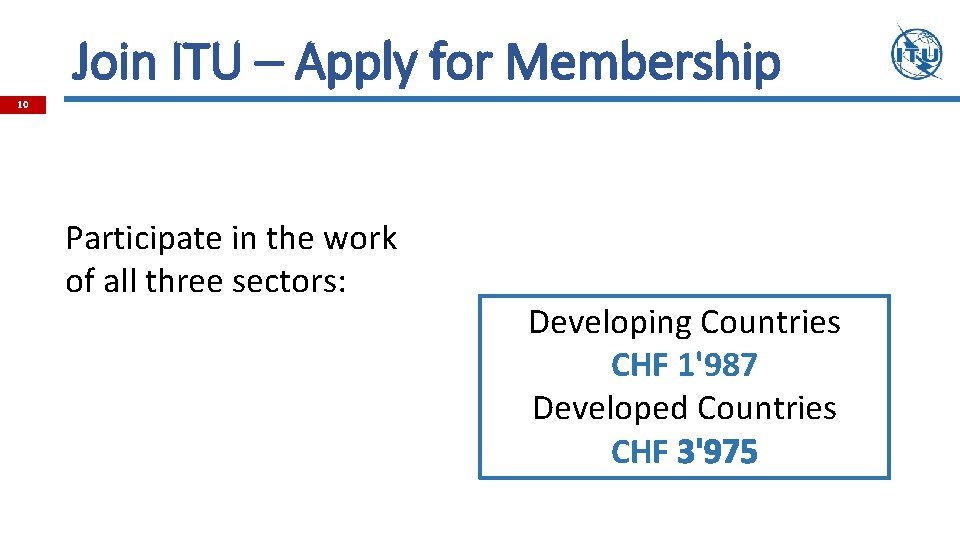 Join ITU – Apply for Membership 10 Participate in the work of all three