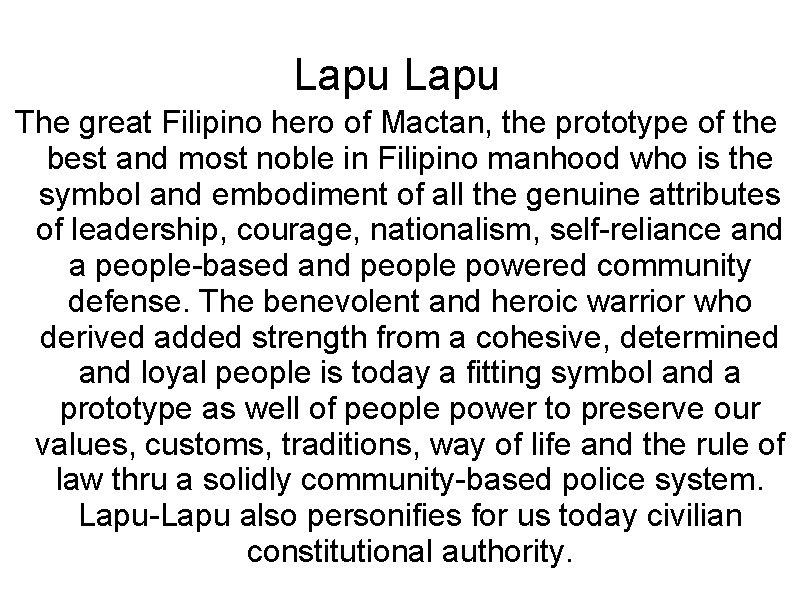 Lapu The great Filipino hero of Mactan, the prototype of the best and most