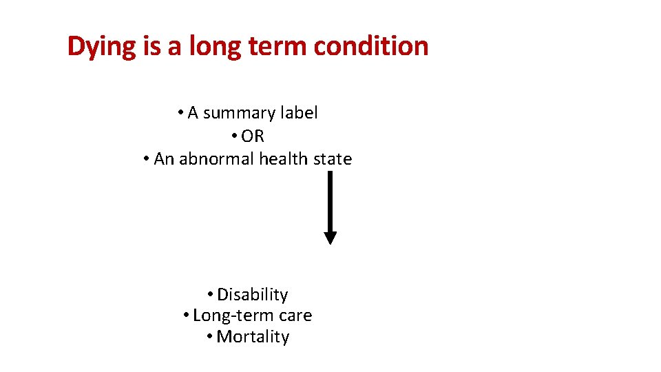 Dying is a long term condition • A summary label • OR • An