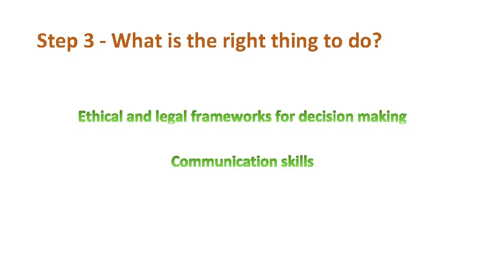 Step 3 - What is the right thing to do?