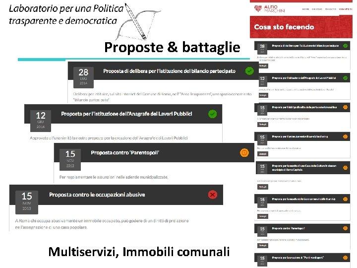 Proposte & battaglie Multiservizi, Immobili comunali 17