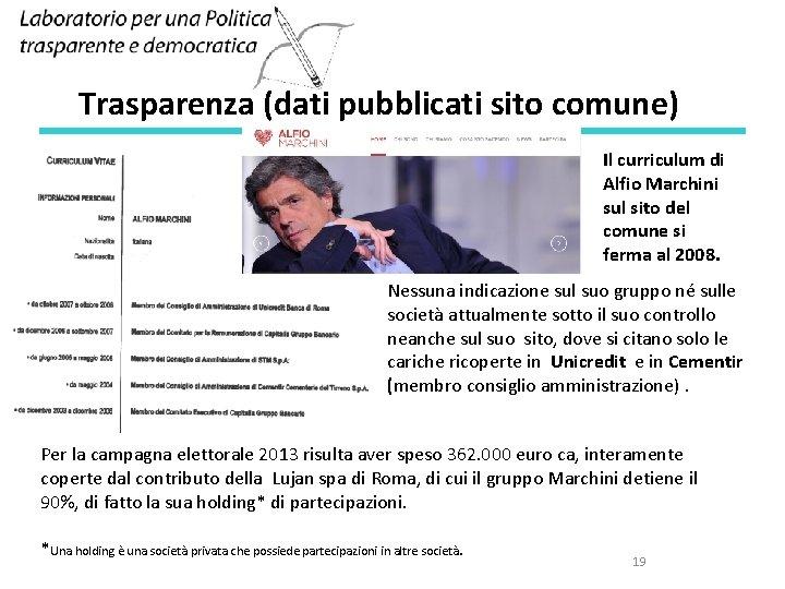 Trasparenza (dati pubblicati sito comune) Il curriculum di Alfio Marchini sul sito del comune
