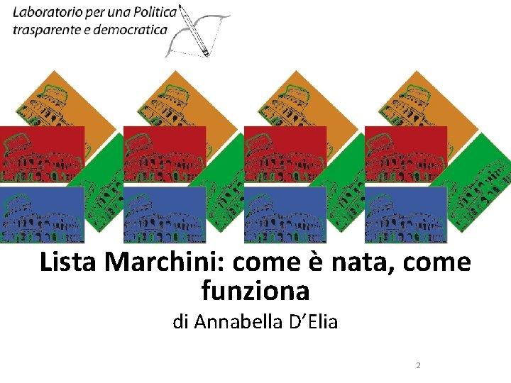 SINISTRA ECOLOGIA E LIBERTA' Lista Marchini: come è nata, come funziona di Annabella D'Elia