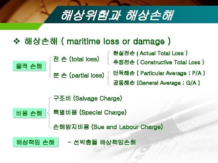 해상위험과 해상손해 v 해상손해 ( maritime loss or damage ) 전 손 (total loss)