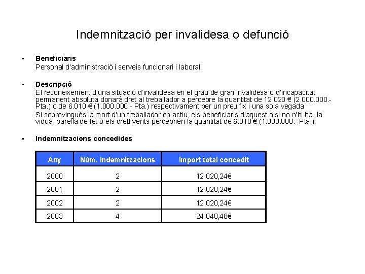 Indemnització per invalidesa o defunció • Beneficiaris Personal d'administració i serveis funcionari i laboral
