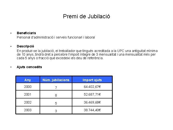 Premi de Jubilació • Beneficiaris Personal d'administració i serveis funcionari i laboral • Descripció