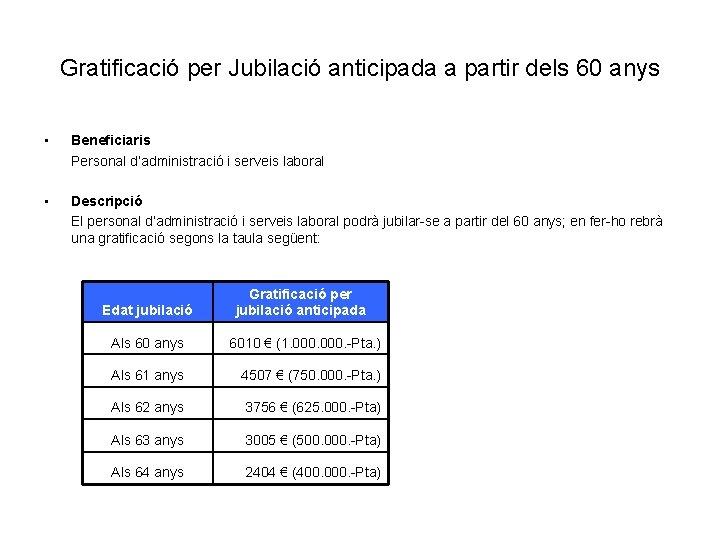 Gratificació per Jubilació anticipada a partir dels 60 anys • Beneficiaris Personal d'administració i