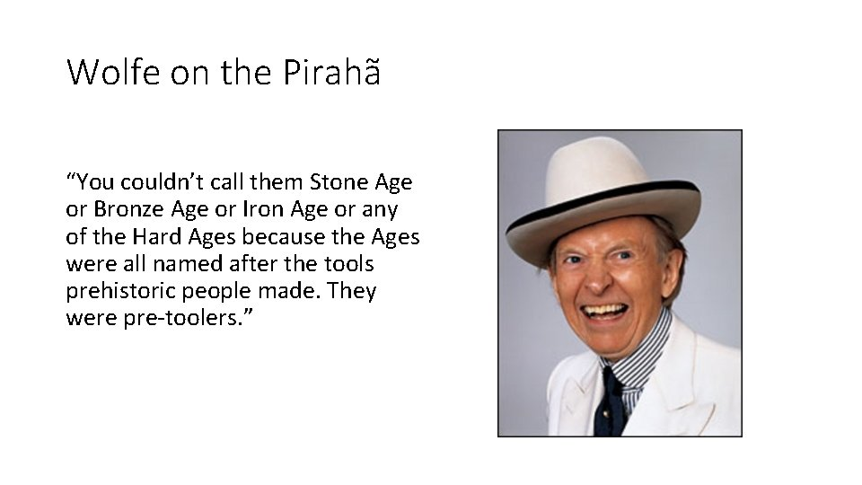 """Wolfe on the Pirahã """"You couldn't call them Stone Age or Bronze Age or"""