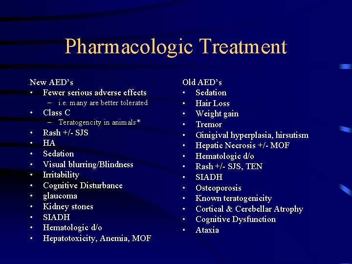 Pharmacologic Treatment New AED's • Fewer serious adverse effects – i. e. many are