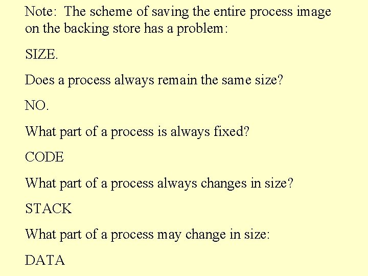 Note: The scheme of saving the entire process image on the backing store has