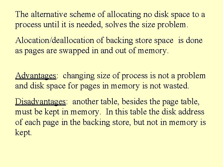 The alternative scheme of allocating no disk space to a process until it is