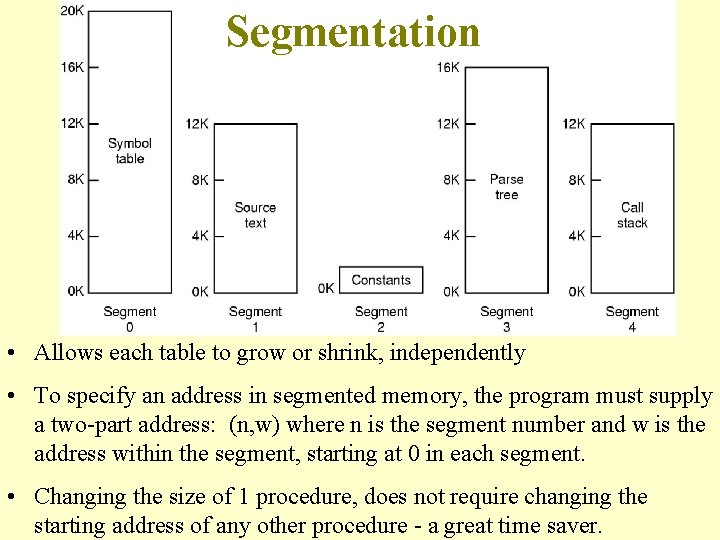 Segmentation • Allows each table to grow or shrink, independently • To specify an