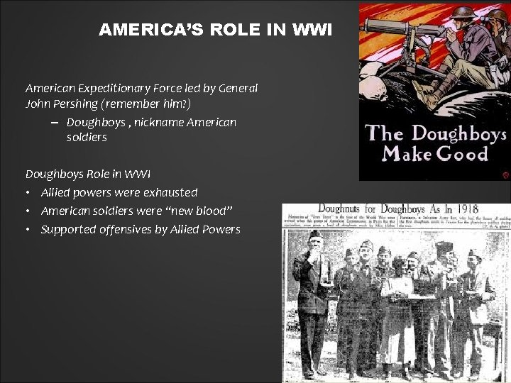 AMERICA'S ROLE IN WWI American Expeditionary Force led by General John Pershing (remember him?