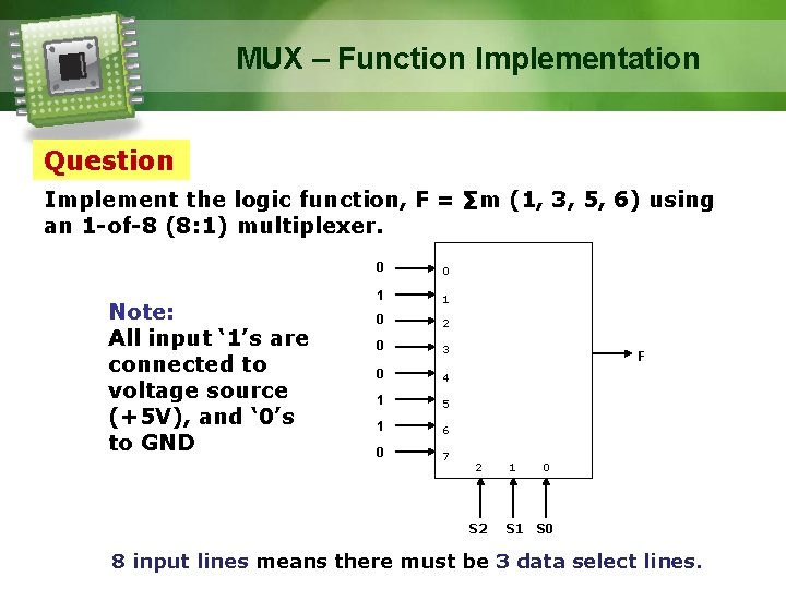 MUX – Function Implementation Question Implement the logic function, F = ∑m (1, 3,