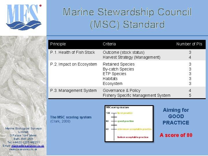 Marine Stewardship Council (MSC) Standard Principle Criteria P. 1. Health of Fish Stock Outcome