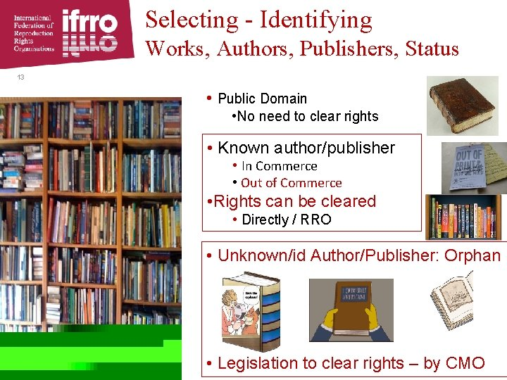 Selecting - Identifying Works, Authors, Publishers, Status 13 • Public Domain • No need