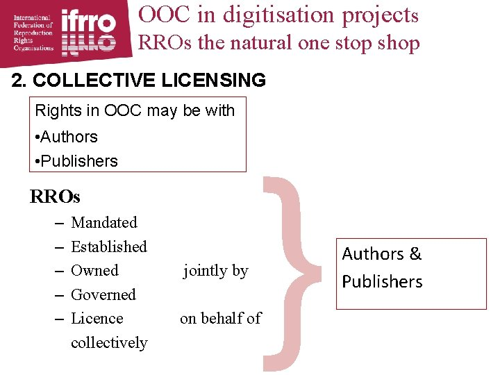 OOC in digitisation projects RROs the natural one stop shop 2. COLLECTIVE LICENSING Rights
