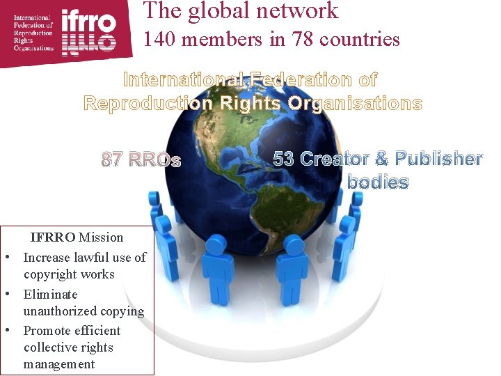 The global network 140 members in 78 countries International Federation of Reproduction Rights Organisations