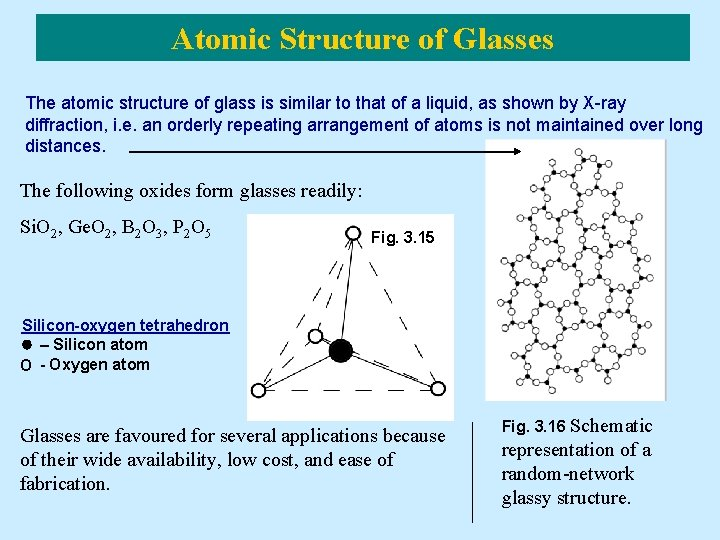 Atomic Structure of Glasses The atomic structure of glass is similar to that of