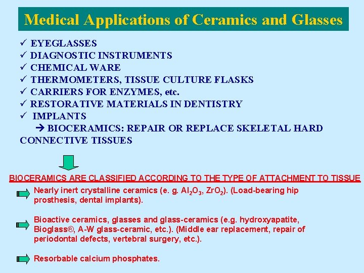 Medical Applications of Ceramics and Glasses ü EYEGLASSES ü DIAGNOSTIC INSTRUMENTS ü CHEMICAL WARE