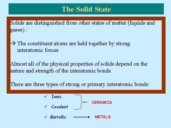 The Solid State Solids are distinguished from other states of matter (liquids and gases)