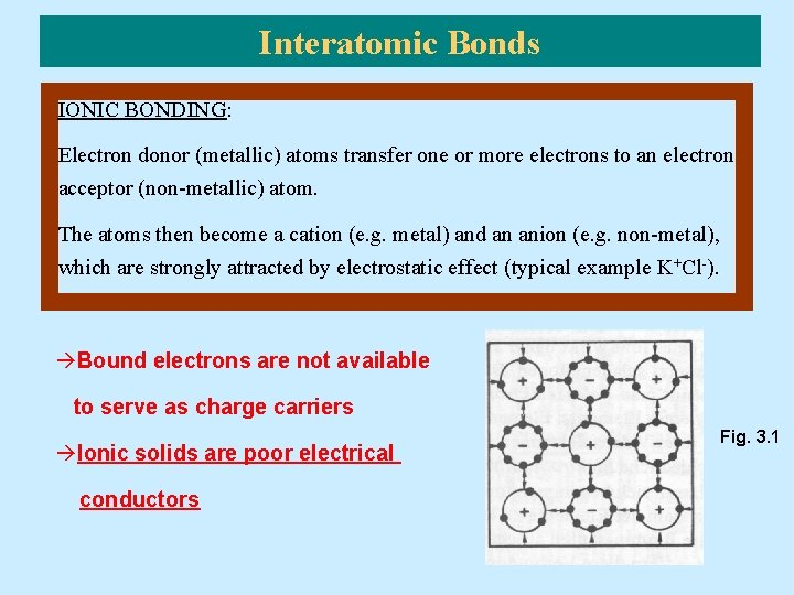 Interatomic Bonds IONIC BONDING: Electron donor (metallic) atoms transfer one or more electrons to