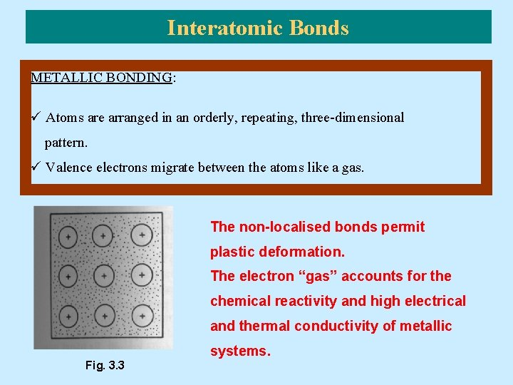 Interatomic Bonds METALLIC BONDING: ü Atoms are arranged in an orderly, repeating, three-dimensional pattern.
