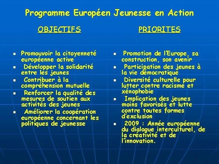 Programme Européen Jeunesse en Action OBJECTIFS n n n Promouvoir la citoyenneté européenne active