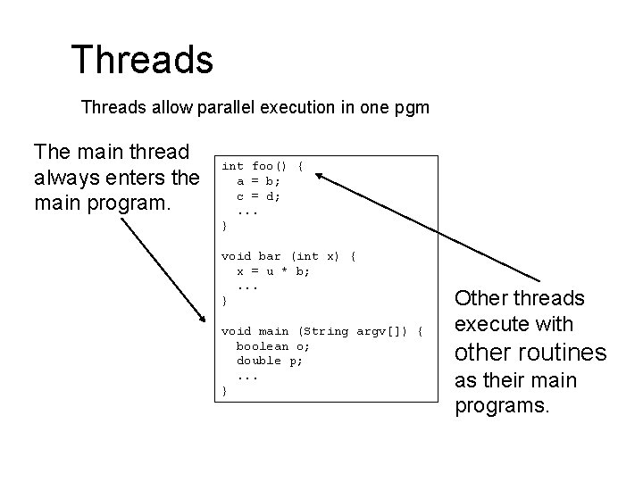 Threads allow parallel execution in one pgm The main thread always enters the main