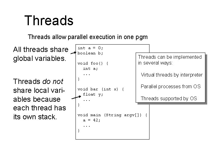 Threads allow parallel execution in one pgm All threads share global variables. Threads do