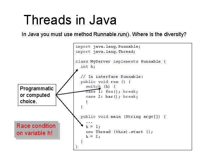 Threads in Java In Java you must use method Runnable. run(). Where is the