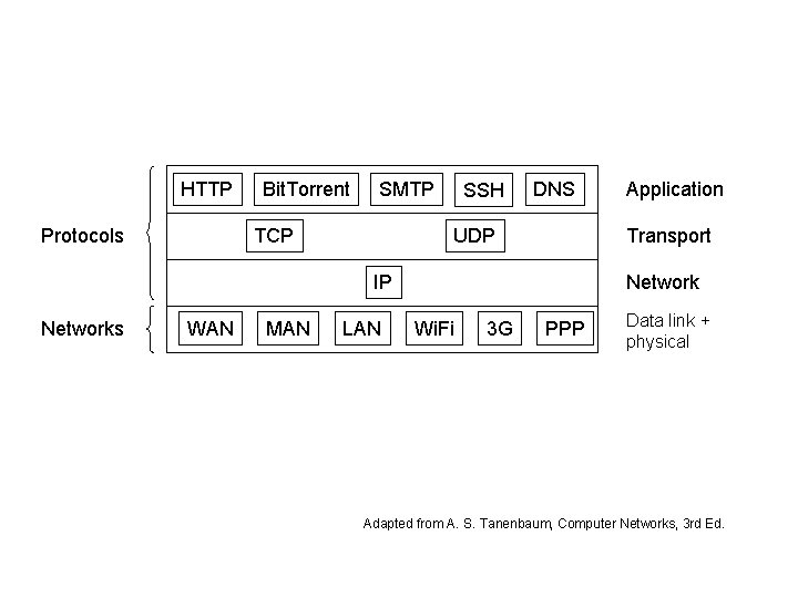 HTTP Protocols Bit. Torrent SMTP TCP SSH DNS UDP Transport IP Networks WAN MAN