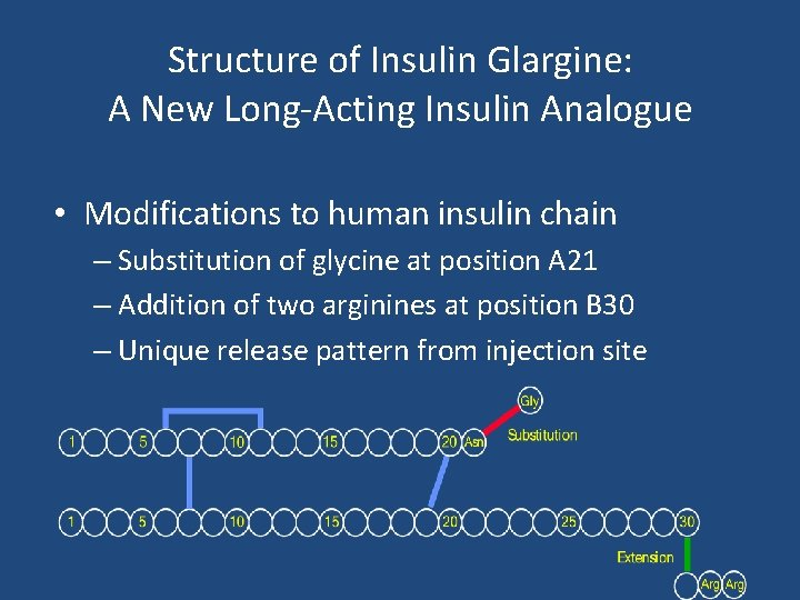 Structure of Insulin Glargine: A New Long-Acting Insulin Analogue • Modifications to human insulin