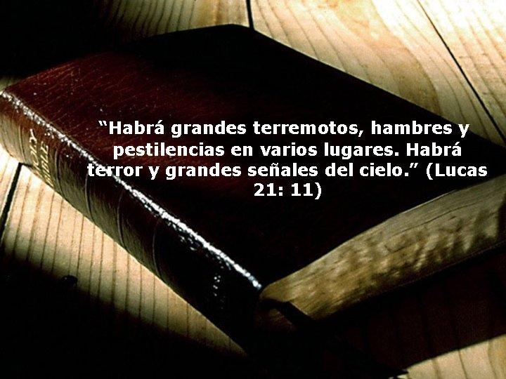 """""""Habrá grandes terremotos, hambres y pestilencias en varios lugares. Habrá terror y grandes"""
