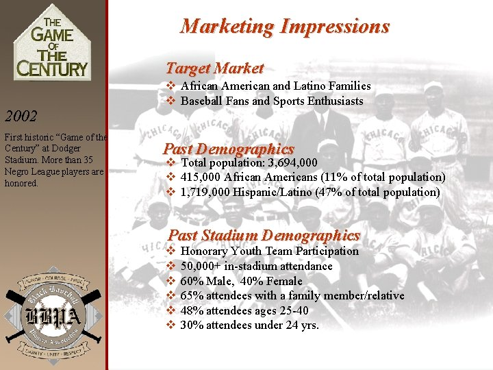 """Marketing Impressions Target Market 2002 First historic """"Game of the Century"""" at Dodger Stadium."""