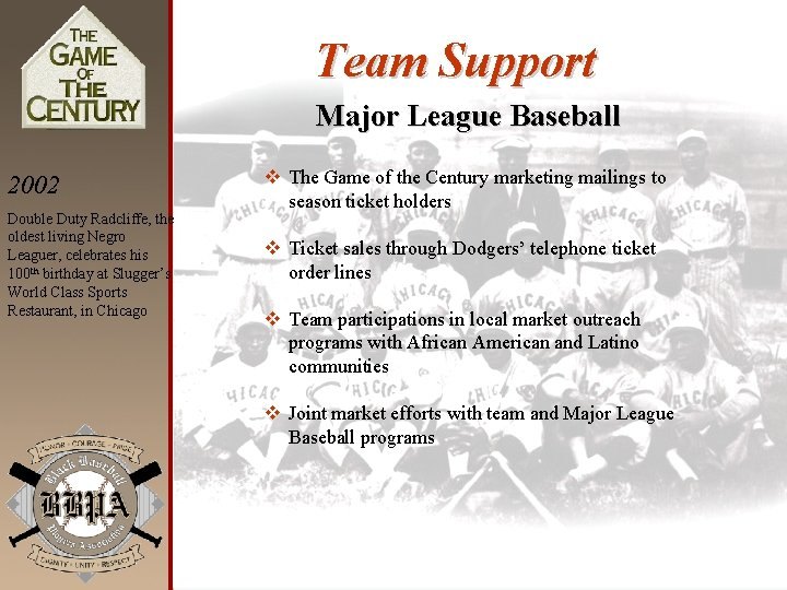 Team Support Major League Baseball 2002 Double Duty Radcliffe, the oldest living Negro Leaguer,