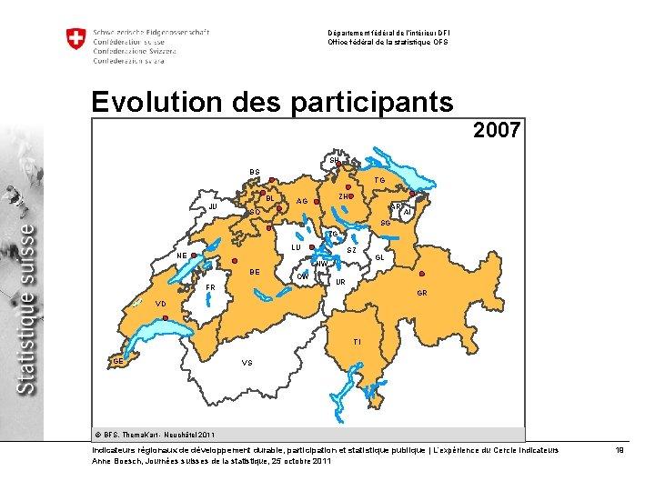 Département fédéral de l'intérieur DFI Office fédéral de la statistique OFS Evolution des participants