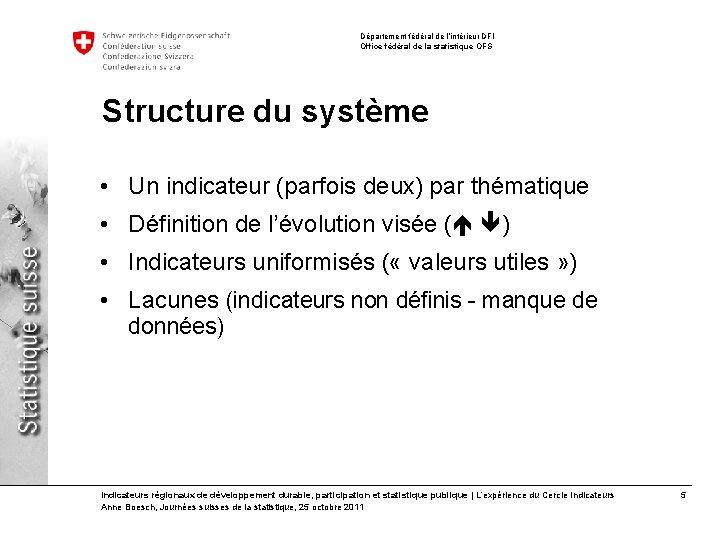 Département fédéral de l'intérieur DFI Office fédéral de la statistique OFS Structure du système