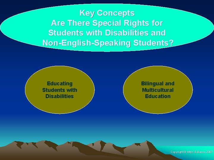 Key Concepts Are There Special Rights for Students with Disabilities and Non-English-Speaking Students? Educating