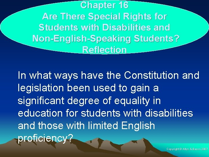Chapter 16 Are There Special Rights for Students with Disabilities and Non-English-Speaking Students? Reflection