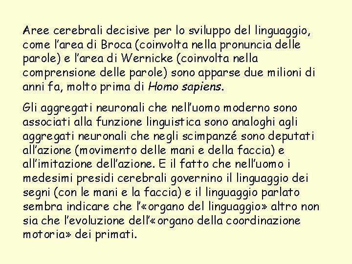 Aree cerebrali decisive per lo sviluppo del linguaggio, come l'area di Broca (coinvolta nella