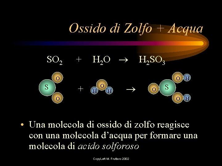 Ossido di Zolfo + Acqua SO 2 + H 2 O H 2 SO