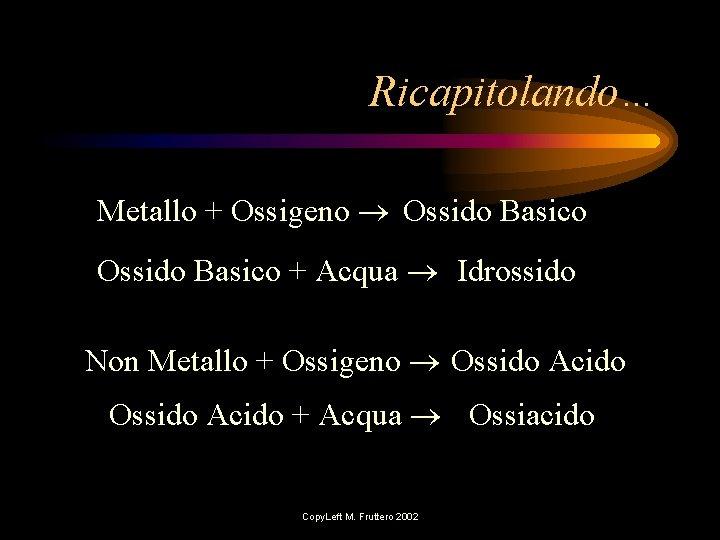 Ricapitolando… Metallo + Ossigeno Ossido Basico + Acqua Idrossido Non Metallo + Ossigeno Ossido