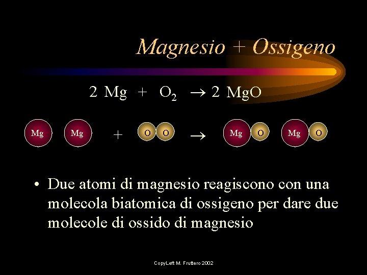 Magnesio + Ossigeno 2 Mg + O 2 2 Mg. O Mg Mg +