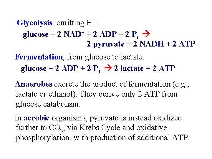 Glycolysis, omitting H+: glucose + 2 NAD+ + 2 ADP + 2 Pi 2