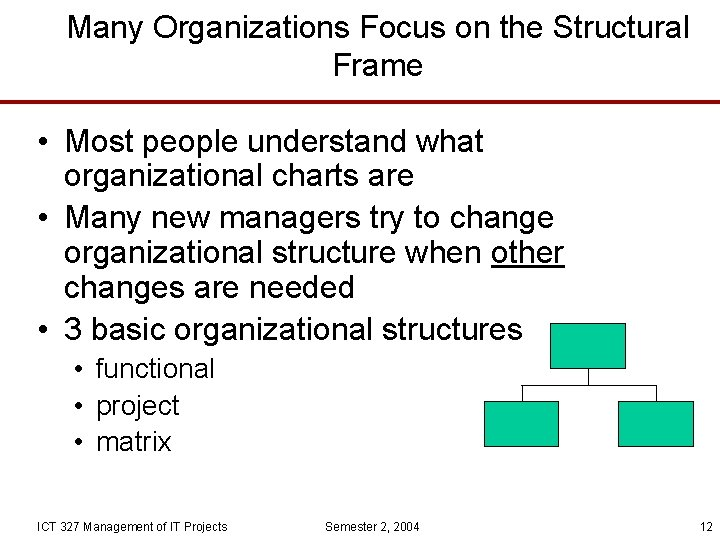 Many Organizations Focus on the Structural Frame • Most people understand what organizational charts
